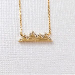 Jewelry - Gold Pave CZ Mountain Dainty Necklace
